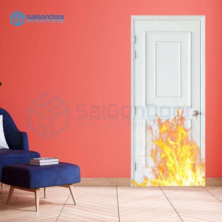 Cửa ngăn cháy cách âm tốt cho phòng ngủMDF O4-C1 phào chỉ nổi