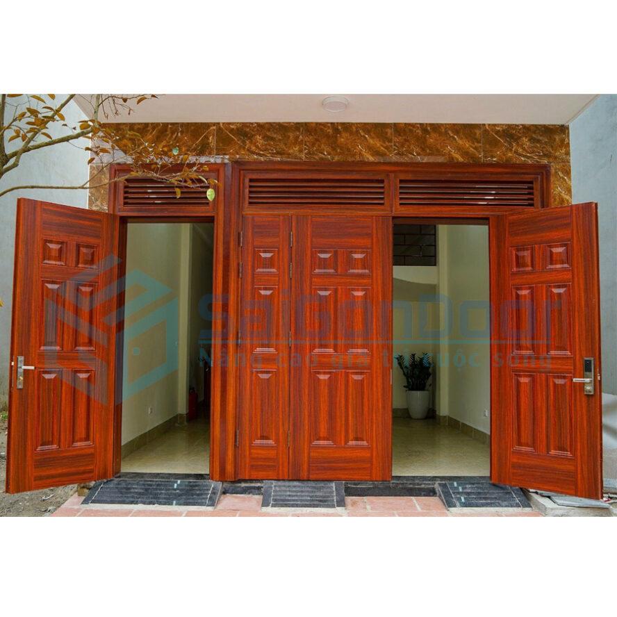Cửa chính 4 cánh kết hợp ô chờ với hướng mở cửa ra ngoài