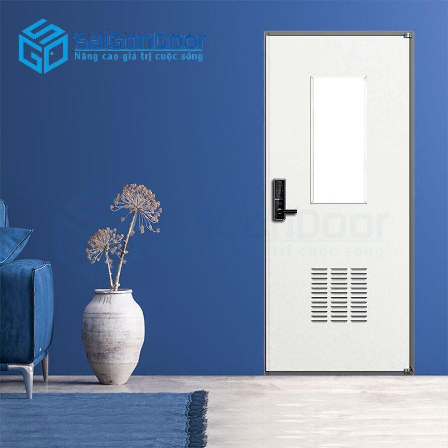 Cửa đơn có ô kính mang lại không gian thoáng và rộng mở phù hợp làm cửa phòng ngủ
