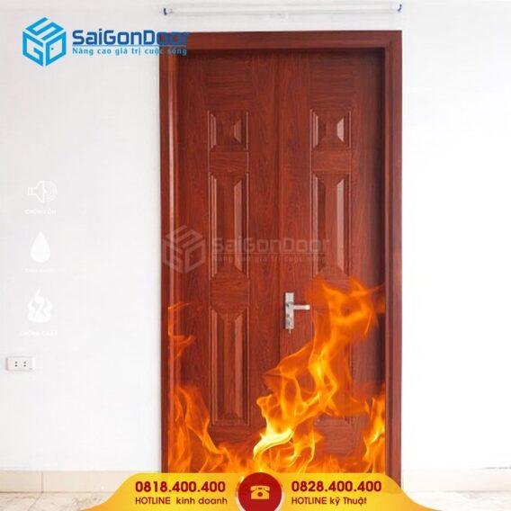 Cửa thép vân gỗ chống bắt lửa